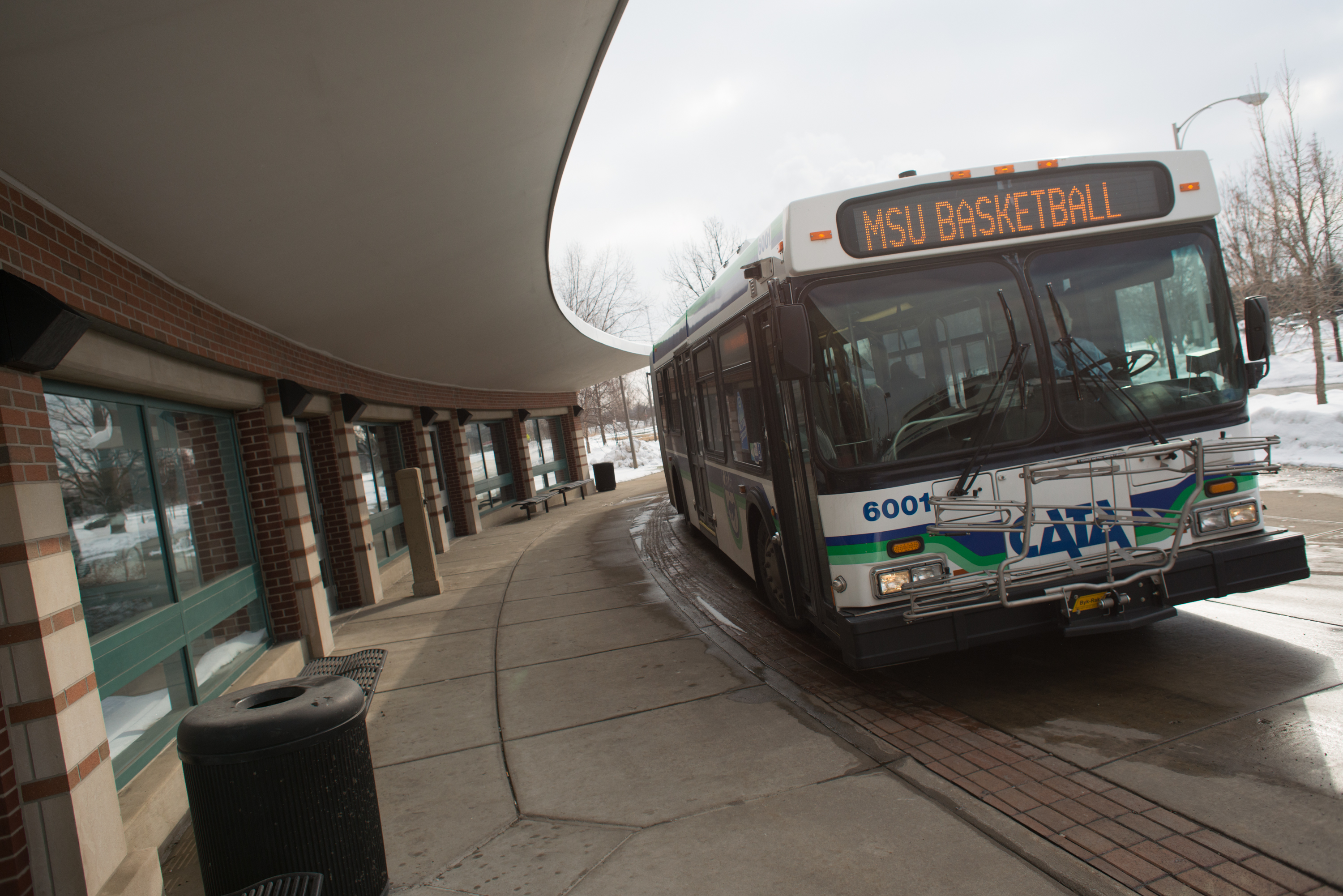 Bus in front of CATA Transportation Center