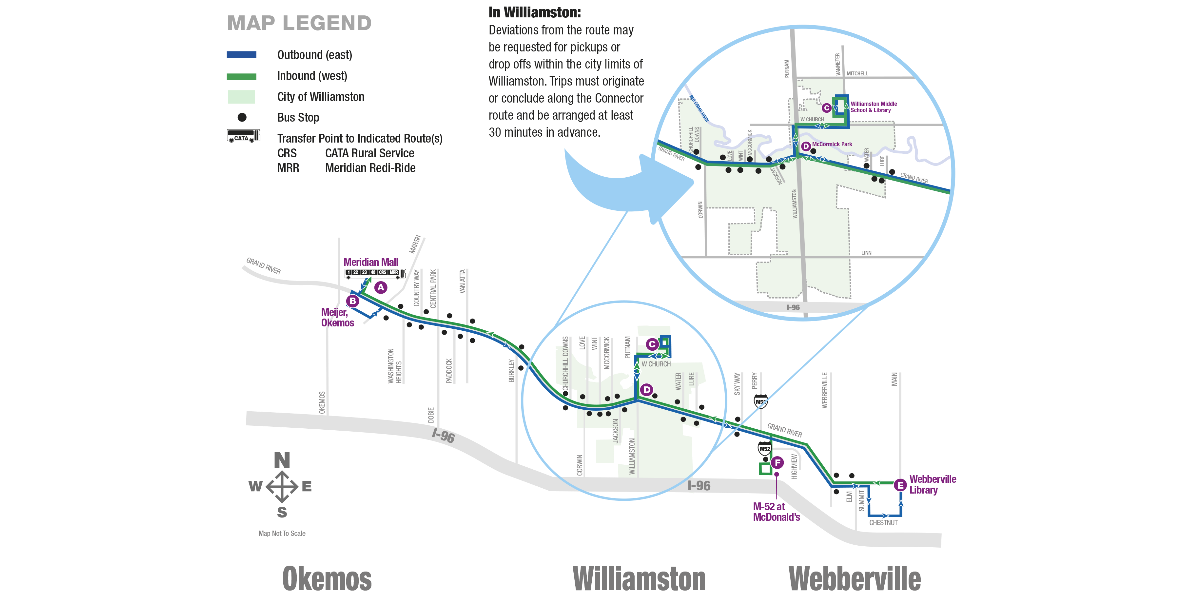 Map of Wiliamston/Webberville Connector routing