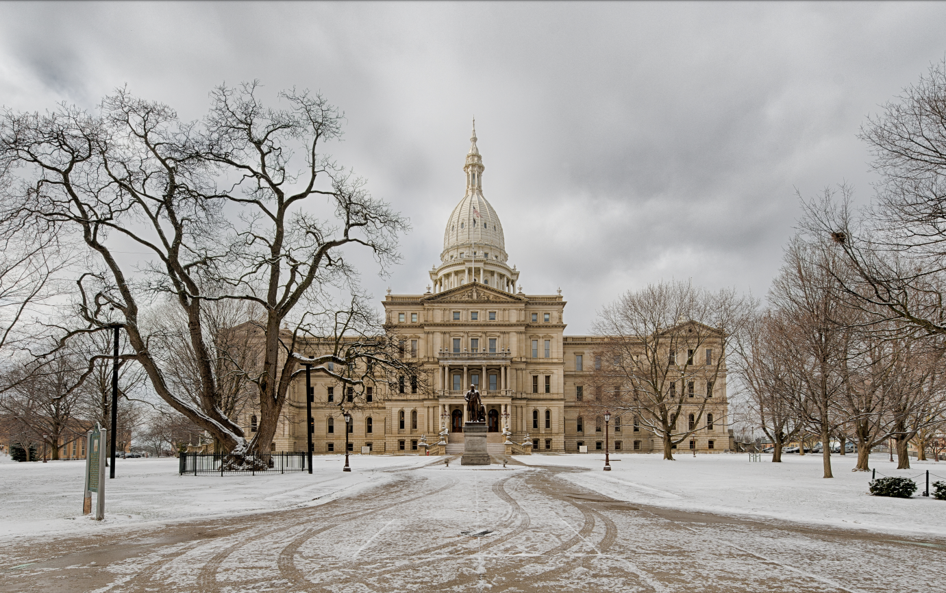 Lansing Capitol building with snow