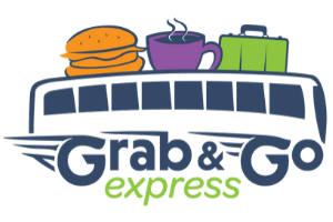 Grab and go logo bus with burger, cup of coffee, and suitcase