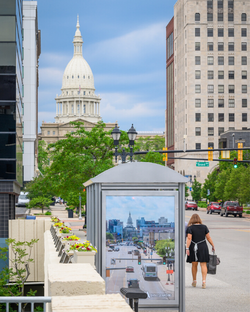 Michigan Avenue Bus Shelter in front of Capitol