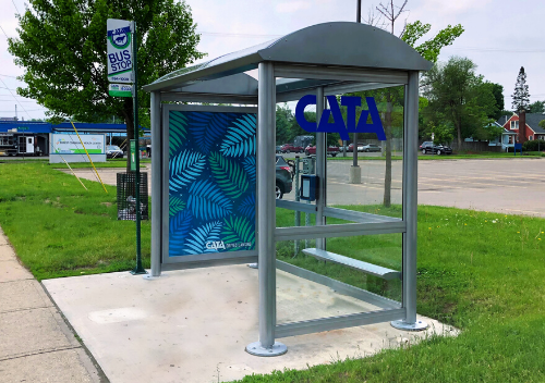 Bus Shelter located on Cedar Street with palm artwork