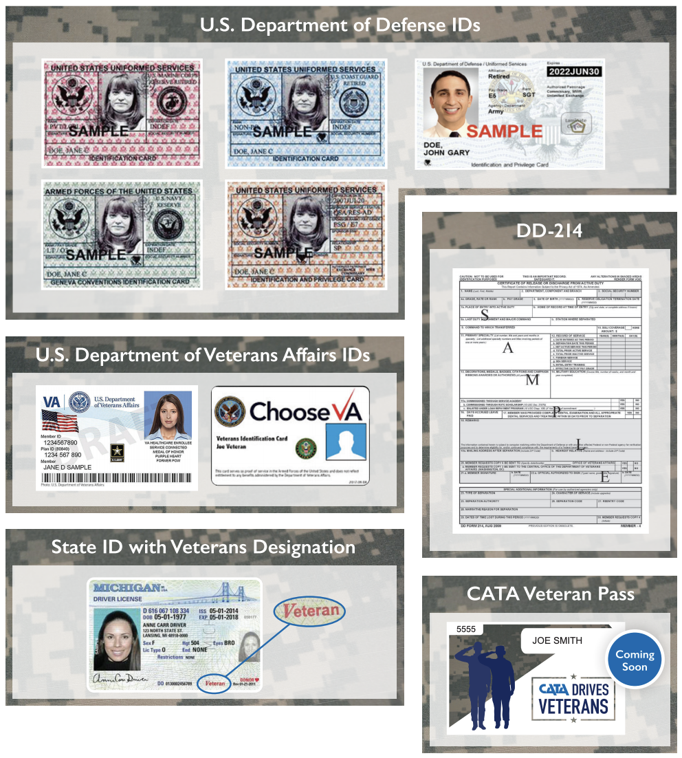 Acceptable forms of ID: US Department of Defense IDs, DD-214, US Department of Veterans Affairs ID, State ID with Veterans Designation, CATA Veterans Pass